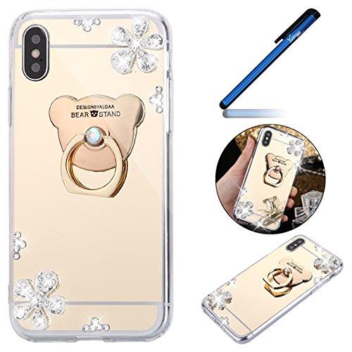 Ysimee Coque iPhone X, Miroir Silicone Étui Strass Glitter Fleur Brillante Housse de Protection avec Anneau Support Couleur Plaquée Ultra Mince et Lég