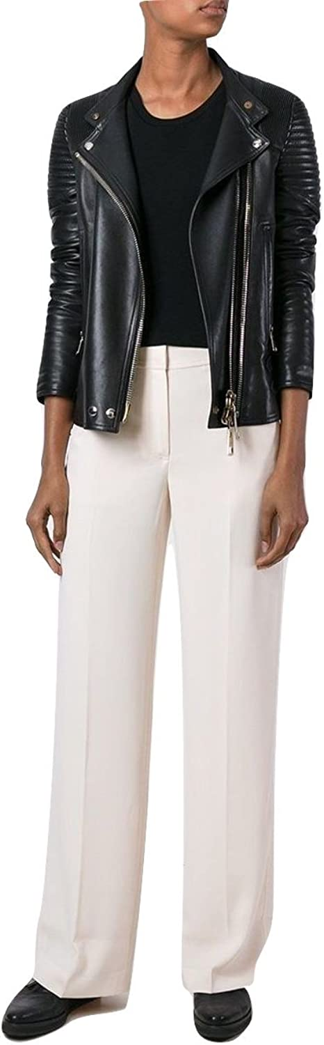 T By Alexander Wang MidRise Crepe WideLeg Trousers, Off White 2