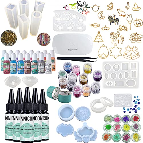 Resina epoxi curable sin olor, 5x30ml, 15 pigmentos de perlas, 14 moldes de silicona, 12 accesorios con purpurina, flor seca, 14 biseles de espalda abierta, cinta sin rastro, collares y de diamantes