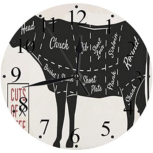 LUHUN Reloj de Pared Moderno,Diagrama de Alimentos Cortes de Carne Placa de pechuga Vaca Restaurante Solomillo de Ternera Correloj de Cuarzo de Cuarzo Redondo No-Ticking para Sala de Estar 30 cm