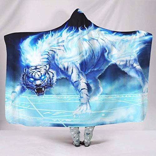 hgdfhfgd Plüsch Sherpa Kapuze Decken Fantasy White Tiger mit Magic Circle Artwork Animal Theme Print Hood Decke Tribal Würfe mit Kapuze Bettwäsche fashion285