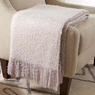 Stone & Beam Oversized Stripe Brushed Weave Throw Blanket, 60  x 80 , Blush / White