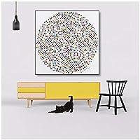 YQQICC 現代のサークル絵画には、多くのカラフルなドットアート写真が含まれていますリビングルーム用の印刷されたキャンバス絵画壁アート写真 -50x50cmフレームなし