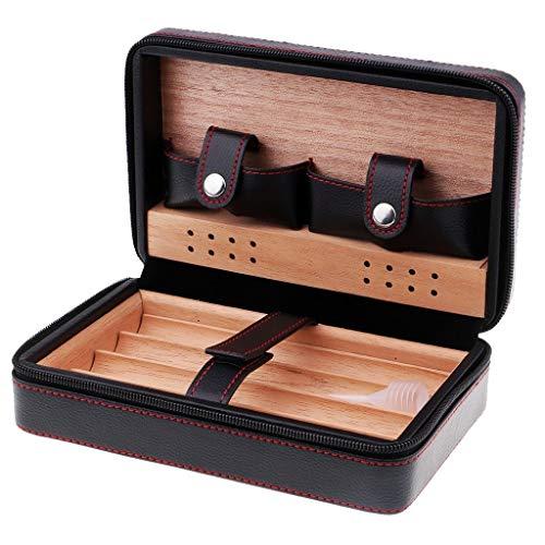 Nologo TIN-YAEN Aschenbecher Kreativ Schwarz Leder Spanischer Zeder gezeichnete 4 Rohr Zigarre Fall Humidor for Männer 205x70mm