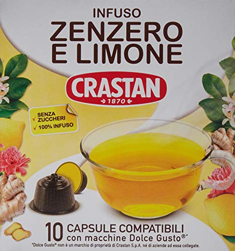 Crastan Capsule Compatibili Dolce Gusto - Zenzero & Limone - 4 confezioni da 10 capsule [tot. 40 capsule]