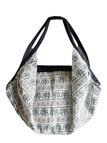 Kombi Rucksack/Umhängetasche aus Baumwolle mit Elefanten Muster