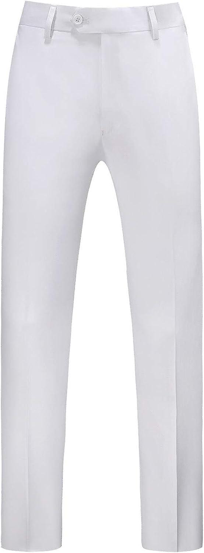 MOGU Mens Front Flat Casual Dress Pants Slim Fit