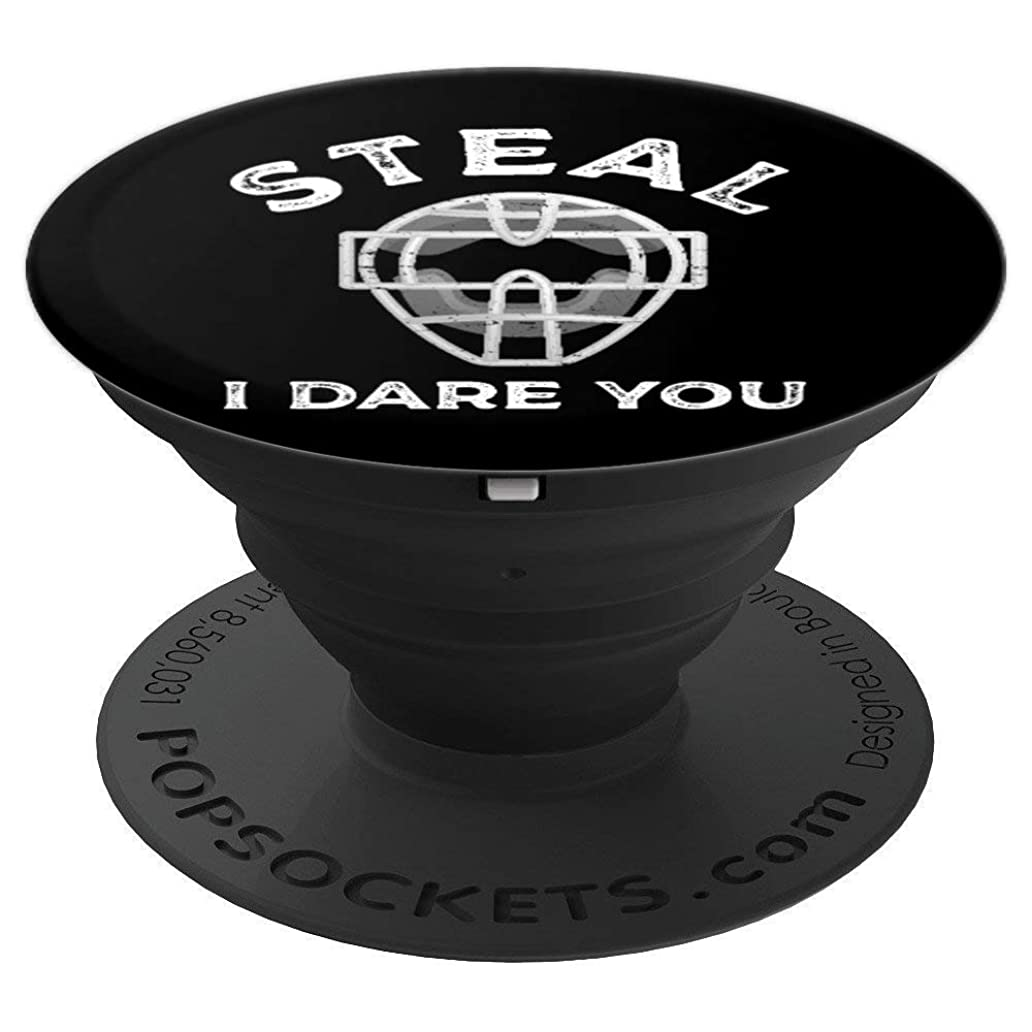 Steal I Dare You Catcher Baseball Softball Vintage - PopSockets Grip and Stand for Phones and Tablets kpv3001446