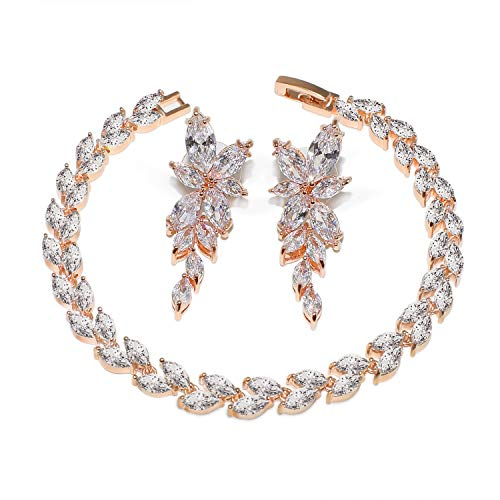 UDORA Women Brdial Bridesmaid Zirconia Earrings Bracelet Jewelry Set Wedding Prom (Rose Gold)