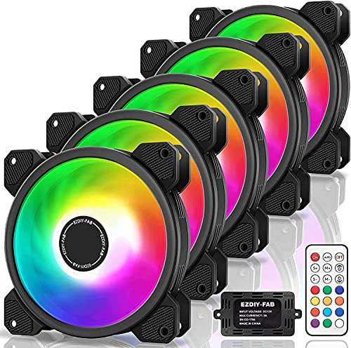 EZDIY-FAB 5 Pack-120mm Ventilador RGB LED para Estuches para PC, Ventilador de refrigeración de la CPU, Ventilador de refrigeración de Agua, Ventilador de Caja RGB direccionable con Controlador