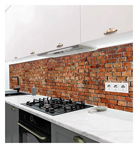 MyMaxxi | selbstklebende Küchenrückwand Folie ohne bohren | Aufkleber Motiv Backstein rot | 60cm hoch | adhesive kitchen wall design | Wandtattoo Wandbild Küche | Wand-Deko | Wandgestaltung