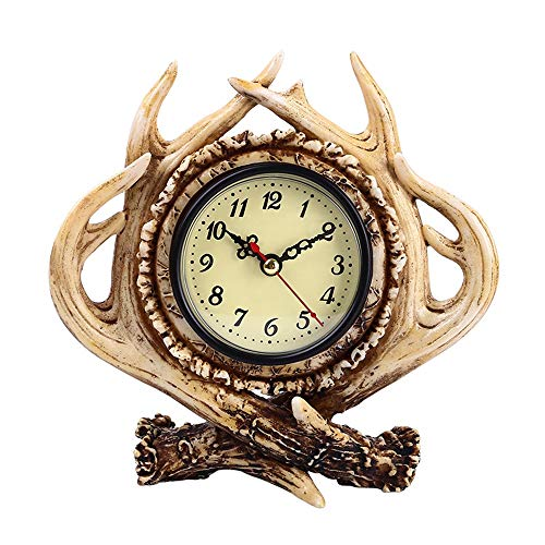 WHSS Resina Europea Y Americana Artesanías Astas Adornos Dormitorio Sala De Estar Bar Inicio Retro Reloj Decorativo Reloj Despertador Reloj