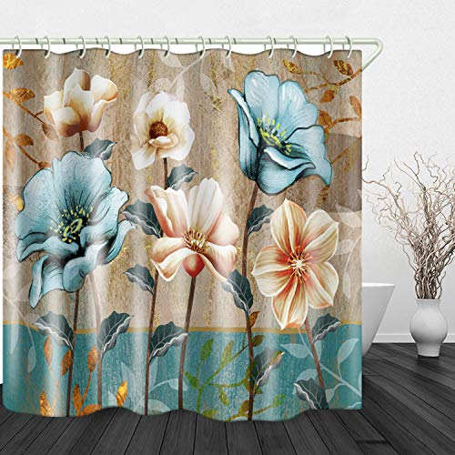 JINYAO Hand Drawn Vintage Flowers Print Waterproof Fabric Shower Curtain for Bathroom Home Decor Covered Bathtub Curtains Liner Includes with Hooks 71 x 71 Inches