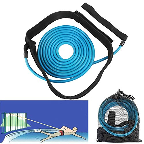 FOOING 4M Swim Training Belts, Swim Training Leash,Swim Tether Stationary Swimming, Swim Harness Static Swimming Belt, Swim Bungee Cords Resistance Bands (Blue, 4)