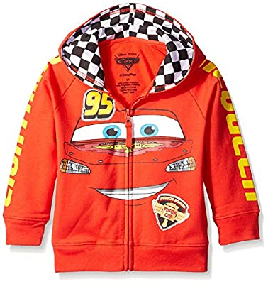 Disney Little Boys' Cars Lightning Mcqueen Hoodie, Red, S-4