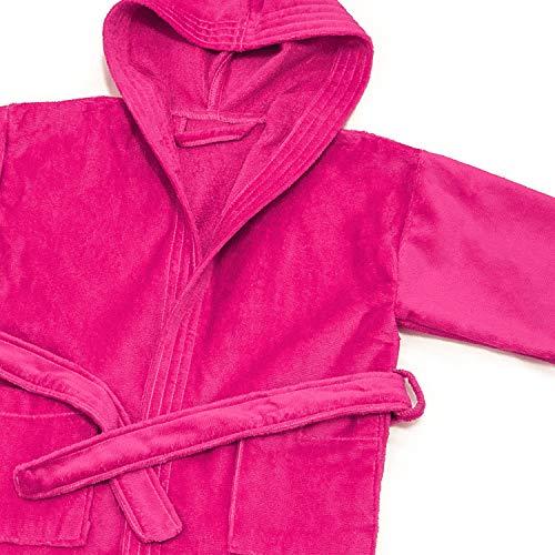 Peignoir à capuche en coton éponge laminé pour enfant Fuchsia 12 ans