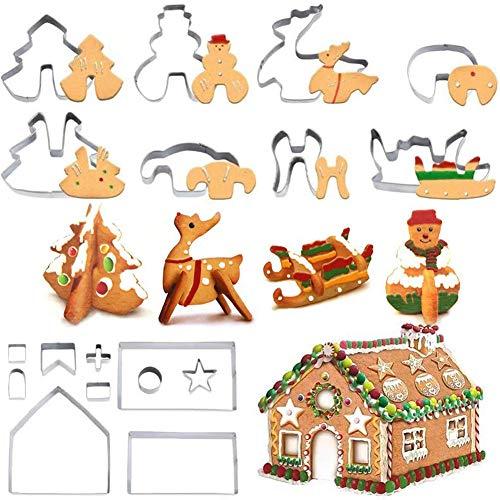 WENTS Muffa di Natale Set di stampi per Biscotti in Camera di Natale in 3D, Set di stampi per Cottage in Pan di Zenzero, Set di stampi per Biscotti in Acciaio Inossidabile Festivo (18 Pezzi)