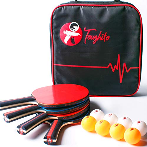 Toughito Pro Ping Pong Paddle Set  Portable Ping Pong Paddles Set of 4 with 2mm Imprint Free Rubber 8 ITTF Standard Ping Pong Balls amp Bag  Rubber Ping Pong Paddle Side Strip for Ultimate Protection