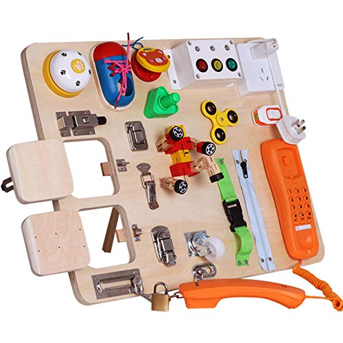 Montessori Busy Board for Toddlers-Busy Board Toys Learn to Dress Toys for 1 2 3 4 Year Old Kids - Learning Toy for Airplane or Car Travel-20-in-1 Yellow