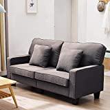 2 Seat Sofa Fabric Sofa Settee Couch Living Room Furniture (Dark Brown) (Dark Brown)