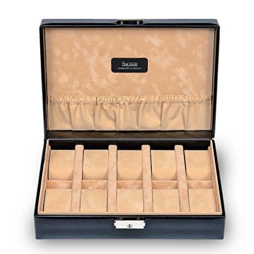SACHER Uhrenetui für 10 Uhren/New Classic/schwarz/Echt Leder/Handmade in Germany/Schmuckaufbewahrung