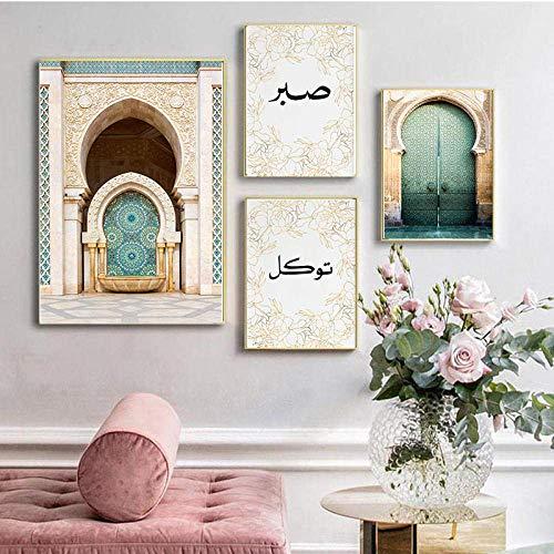 ZDFDC Islamische Bilder Poster Set Allah islamische Wandkunst Leinwanddruck Gemälde Marokko Tür muslimisches Gebäude Poster Moderne Moschee Dekor Bild