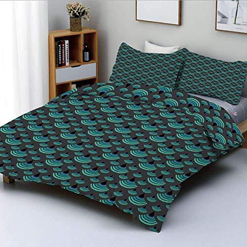 Juego de funda nórdica, Vintage Trippy Artful medio círculo vertical media luna impresión japonesa decorativa Juego de cama decorativo de 3 piezas con 2 fundas de almohada, verde jade gris carbón, Bes