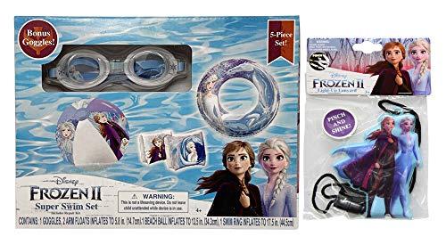Disney Frozen Inflatable Pool Toys for Kids (5 in 1) with Light Up Lanyard (Random), Beach Ball, Kids Floaties for Pool, Inflatable Beach Ball, Inflatable Toys for Kids, Swim Toys (Set#2)