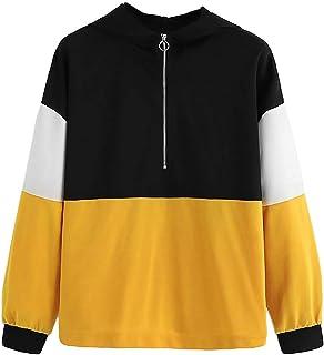 Qootent Spring Women Zipper Hoodie Long Sleeve Color Block Sweatshirt Pullover