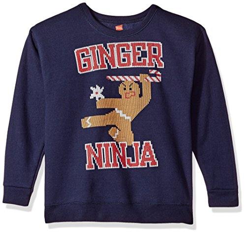 Hanes Boys' Little Ugly Christmas Sweatshirt, Navy/Ginger Ninja, Small