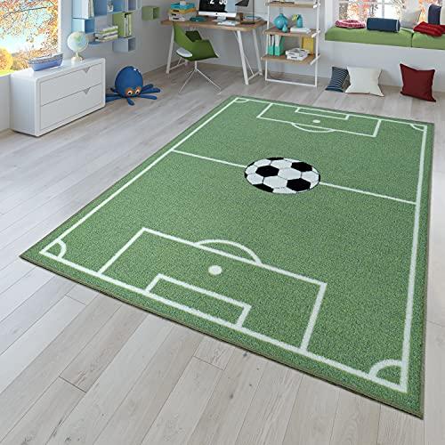 TT Home Kinder-Teppich, Spiel-Teppich Für Kinderzimmer Mit Fußball-Design, In Grün, Größe:100x200 cm