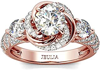 Jeulia Women's Wedding Rings Sterling Silver Promise Eternity Band Princess Cut Cubic Zirconia Wedding Engagement Anniversary Promise Floral Halo Rings Bridal Sets