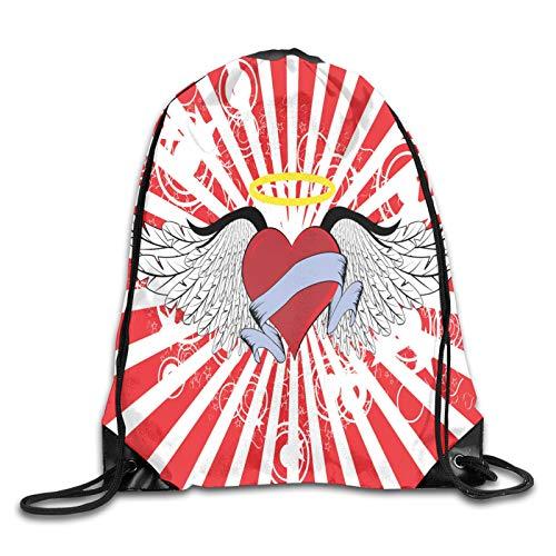Mochila con cordón para gimnasio, diseño de corazón con lazo de halo y alas en telón de fondo retro, para escuela, deportes, viajes, mujeres, niños, regalo de cumpleaños