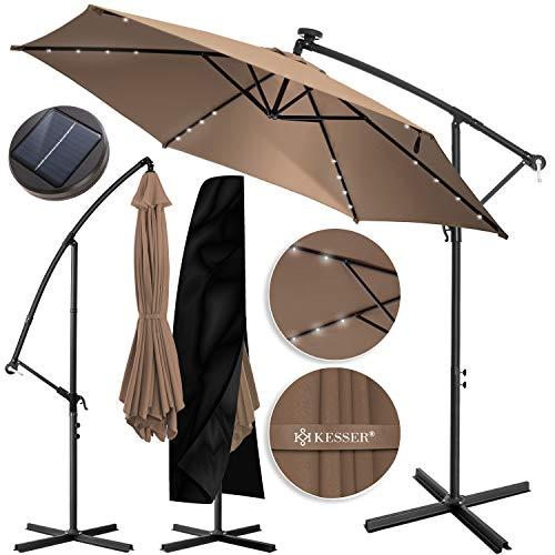 KESSER® Alu Ampelschirm LED Solar Ø350cm + Abdeckung mit Kurbelvorrichtung UV-Schutz Aluminium mit An-/Ausschalter Wasserabweisend - Sonnenschirm Schirm Gartenschirm Marktschirm Taupe