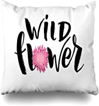 NOWCustom Throw Pillow Cover Greeting Happy Hand Sketched Wild Flower Text Camper Badge Black Brush Drawing Drawn Design Zippered Pillowcase Square Size 16 x 16 Inches Home Decor Pillow Case