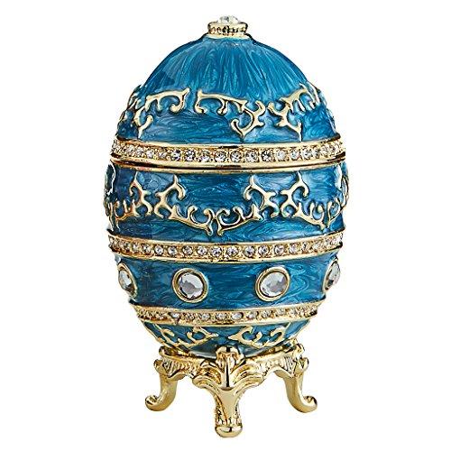 Design Toscano Farbergé-Ei im Kaiserlichen Baroque-Stil: Himmlisches Blau Skulpturen, Metall, 4 x 4 x 6.5 cm