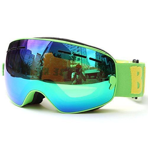 Lixada Skibrille für Kinder Snowboarden Skating Brille UV400-Schutz Anti-Beschlag Skibrille Doppelscheibe Sphärische Brille für Kinder zum Skifahren und Bergsteigen (Kinder - Cyan - 5,8 × 3,3 Zoll)