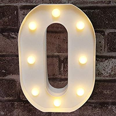 Pooqla Decorative Led Light Up Number Letter, White Plastic Marquee Number Lights Sign Party Wedding Decor Battery Operated Number 0