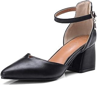 BalaMasa Womens ASL06540 Pu Block Heels
