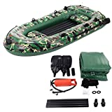 Window-pick 10ft 2/3/4 Person Portable Foldable Thickening Inflatable Boat Set Inflatable Sport Kayaking Come with Paddles Air Pump PVC Kayak Canoe Boat Set for Drifting
