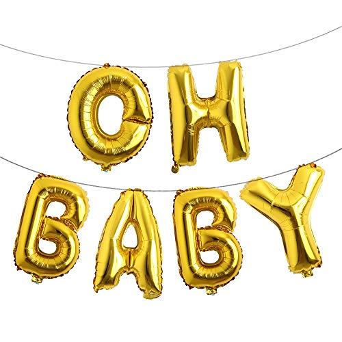 16 Inch Oh Baby Foil Letter Balloon Banner Hanging Party Kit for Baby Shower Gender Reveal Party Decoration Supplies (Oh Baby Gold)