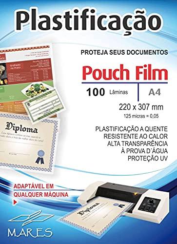 Plástico para Plastificação Pouch Film, Mares 53211, Multicor, A4, Pacote de 100