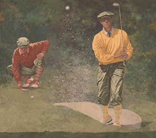 Vintage Golf Play Sports Green Extra Wide Wallpaper Border Retro Design, Roll 15' x 11''