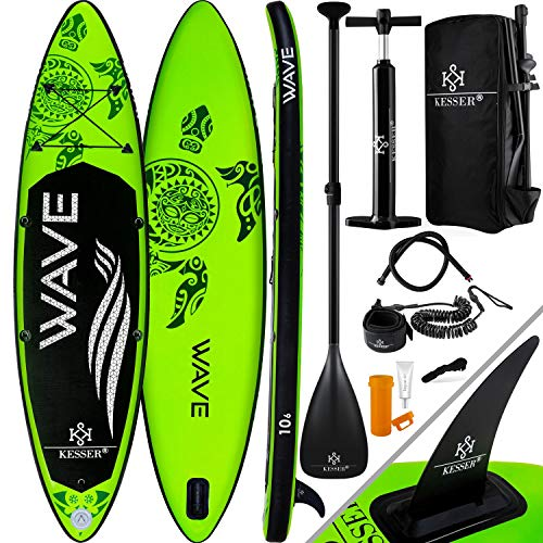 KESSER® Aufblasbare SUP Board Set Stand Up Paddle Board | 366x76x15cm 12.0'...