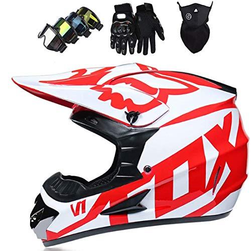 Casco de motocicleta todoterreno con guantes de máscara, Casco MTB de cara completa para niños y adultos, Conjunto de casco de motocross ATV Mountain Bike Quad con diseño de Fox
