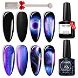 Modelones 9D Cat Eye Gel Nail Polish Set - 2 Pcs Black Blue Purple Chameleon Magnetic Galaxy Glitter Galactic Effect Magic Gel Polish with Magnet Stick Soak Off LED Gel Nail Polish for Nail Art 10ML
