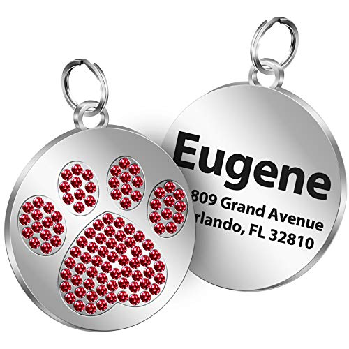 TedYoho Personalized Tags Rhinestones Inlaid Paw Print on Round Stainless Steel Crystal Pet ID Tags Custom Engraved Name 4 Different Sparkle Colors (Red)