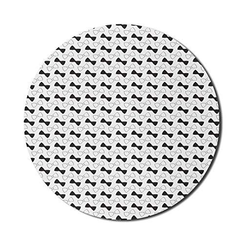 Bow Mouse Pad für Computer, Simplistic Design Monochrom Minimal Schwarz und Weiß Gekritzelte Krawatte, Runde rutschfeste dicke Gummi Modern Gaming Mousepad, 8 'Rund, Schwarz und Weiß