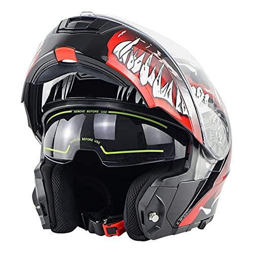 Cascos Modulares De Moto Mujer Hombre DOT ECE Homologado Cascos Abiertos De Moto Con Doble Visera Lente Grande Cascos Integrales De Moto Ventilado Casco Ligero Moto Venom 1,L