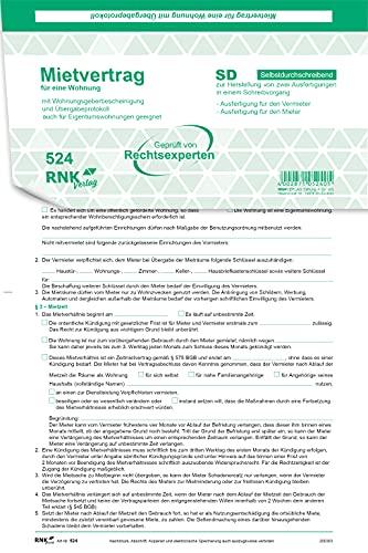 RNK 524 - Contrato de alquiler universal para viviendas - SD, con protocolo de entrega y certificado de establecimiento de viviendas, 4 x 2 hojas, DIN A4, 25 unidades
